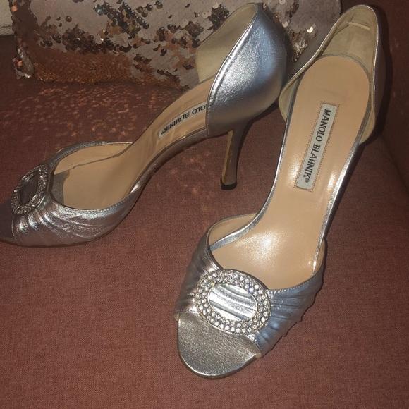 22e12a4b379d8 Manolo Blahnik Shoes | Manolo Silver Sedaraby Dorsay Pumps | Poshmark